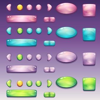 Un ampio set di pulsanti glamour di diverse forme per l'interfaccia utente e il web design