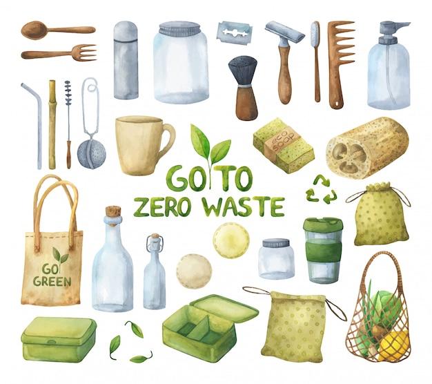 Una vasta serie di illustrazioni per uno stile di vita ecologico con oggetti riutilizzabili.