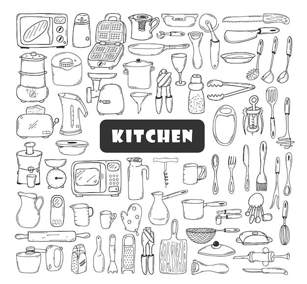 Un ampio set di utensili da cucina in stile doodle. elementi disegnati a mano isolati su bianco.