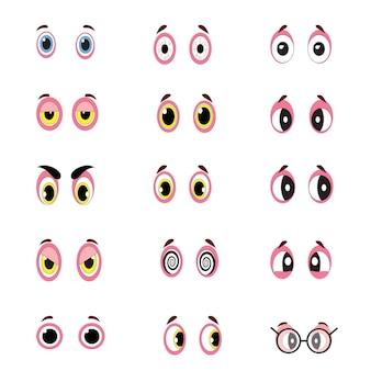 Grande insieme di occhi dei cartoni animati di persone raffiguranti una varietà di espressioni