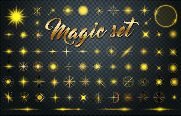 Ampio set di stelle d'oro realistiche scoppia di scintillii su sfondo trasparente.