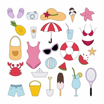 Un grande set con articoli estivi per vacanze, vacanze e viaggi. illustrazione vettoriale in stile scarabocchio.