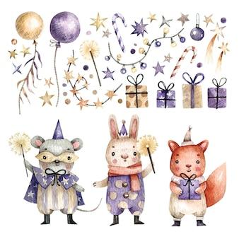 Grande set elegante di simpatici animali in costumi di carnevale, palloncini, regali e stelle dipinti con l'acquerello.