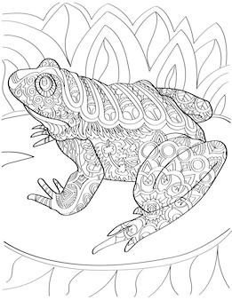 Grande rospo sulla ninfea guardando lateralmente incolore disegno enorme rana toro in appoggio su una pianta