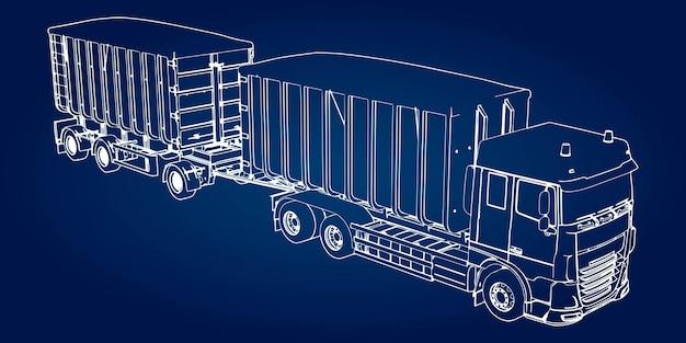 Camion di grandi dimensioni con rimorchio separato, per il trasporto di materiali e prodotti sfusi agricoli ed edili.