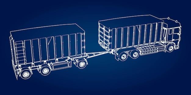 Camion di grandi dimensioni con rimorchio separato, per il trasporto di materiali sfusi agricoli ed edili