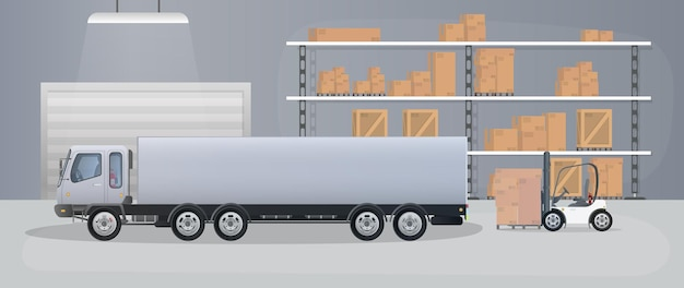 Ampio magazzino con cassetti. rack con cassetti e scatole. scatole di cartone, camion, magazzino di produzione. vettore.