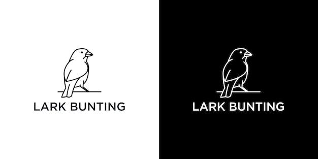 Lark bunting line art logo design template