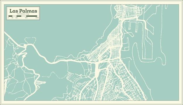 Mappa della città di las palmas in spagna in stile retrò. mappa di contorno. illustrazione di vettore.