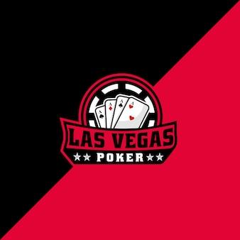 Modello di logo di gioco del poker di las vegas