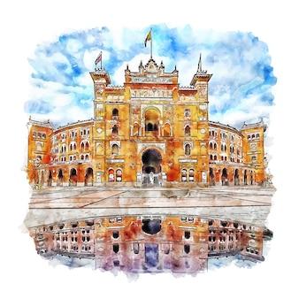 Illustrazione disegnata a mano di schizzo dell'acquerello di las ventas madrid