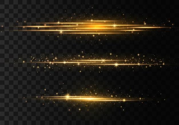 Raggi laser, raggi luminosi orizzontali, linee.