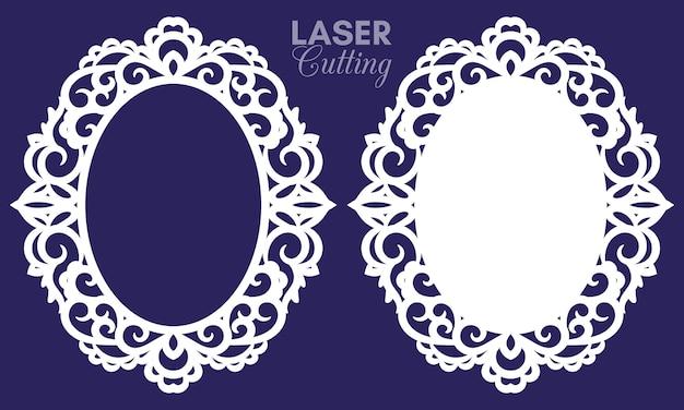Cornici ovali astratte tagliate al laser con turbinii, ornamenti, cornice vintage. può essere usato per il taglio laser. cornici per foto con pizzo per il taglio della carta.