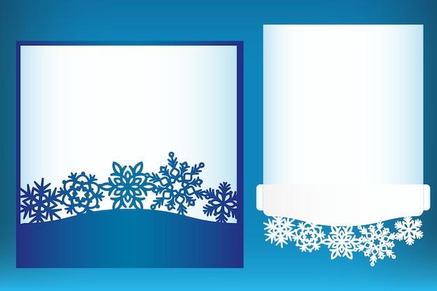 Modello di cartolina di natale tagliato al laser con fiocchi di neve
