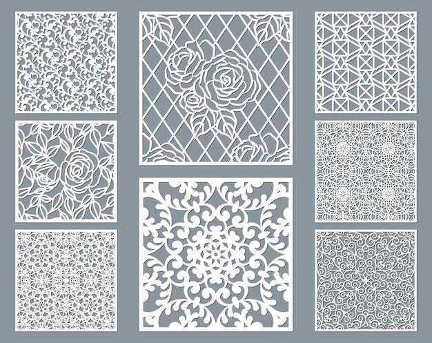 Pannello decorativo tagliato a laser con motivo traforato, collezione di modelli ornamentali quadrati.