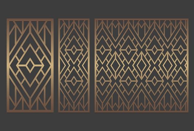 Design del pannello geometrico con taglio laser. ripetendo il modello di stencil.
