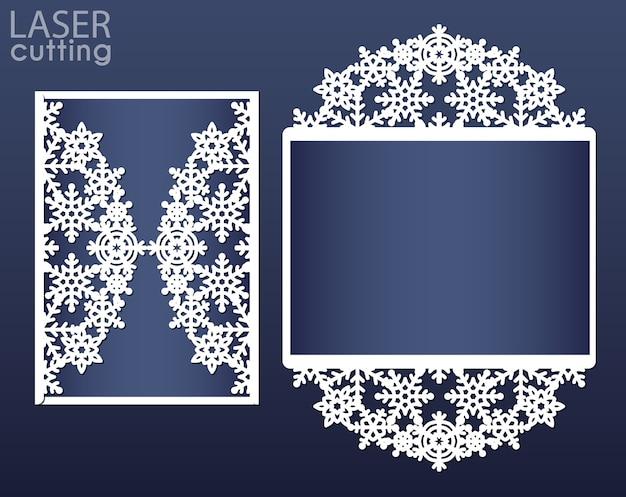 Modello di carta di invito tagliato al laser. carta piega cancello di carta ritaglio con motivo a fiocchi di neve