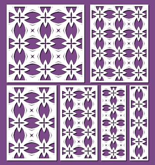 Set di modelli di pannelli ornamentali tagliati al laser vettore di modelli di bordi decorativi in pizzo