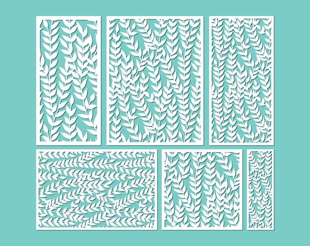 Modelli di pannelli ornamentali tagliati al laser con foglie.