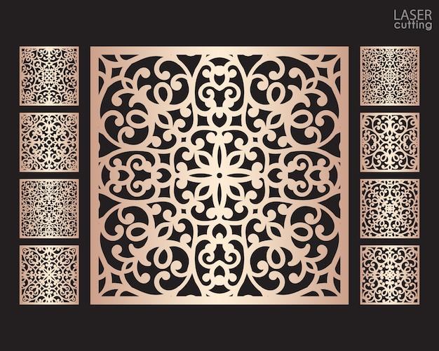 Pannelli quadrati ornamentali tagliati al laser con motivo, modello per il taglio. design in metallo, scultura in legno.