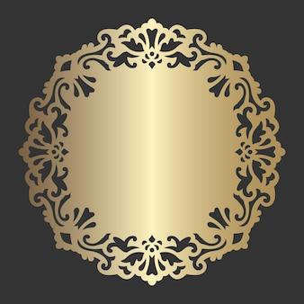 Modello di centrino ornato tagliato al laser. decorazione rotonda vintage.