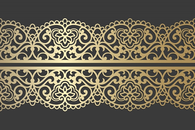 Design del pannello tagliato al laser. modello di bordo ornato pizzo vintage vettoriale per taglio laser, vetrate, incisione su vetro, sabbiatura, intaglio del legno, cardmaking, inviti di nozze.