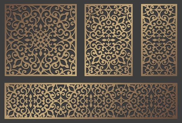 Design del pannello tagliato al laser. modello di bordo vintage ornato per taglio laser, vetrate, incisione su vetro, sabbiatura, intaglio del legno, cardmaking, inviti di nozze.