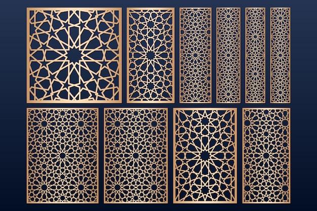 Modello di pannello tagliato a laser impostato con motivo islamico. Vettore Premium
