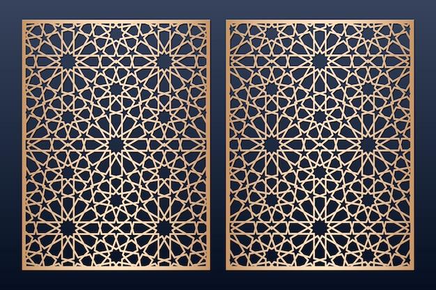 Modello di pannello tagliato a laser con motivo islamico. Vettore Premium