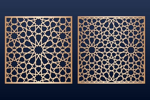 Modello di pannello tagliato a laser con motivo islamico.