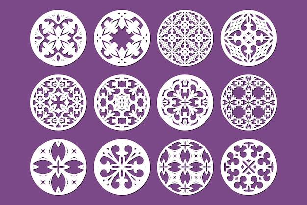 Set di modelli di pannelli ornamentali rotondi tagliati al laser