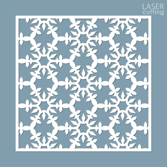 Pannello ornamentale quadrato tagliato al laser con motivo a fiocchi di neve.