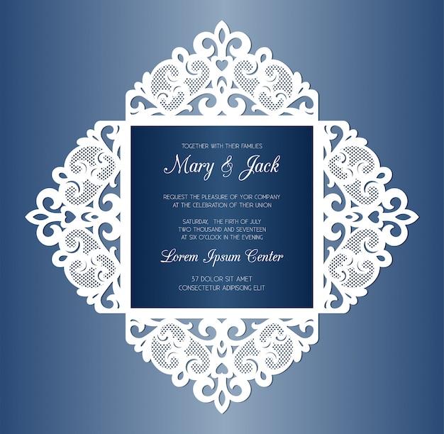 Modello di carta quattro volte invito a nozze tagliato al laser. invito a nozze o copertina di biglietto di auguri con ornamento astratto.