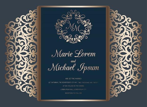 Modello della carta del popolare del portone dell'invito di nozze del taglio del laser. carta da taglio con motivo traforato.