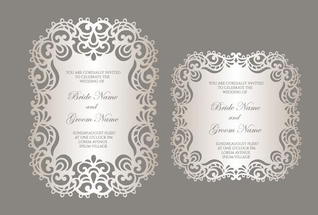 Modello di invito a nozze taglio laser con bordo in pizzo. mockup di carte a telaio piatto.