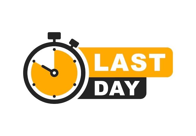 Banner dell'ultimo giorno con timer etichetta dell'ultima offerta