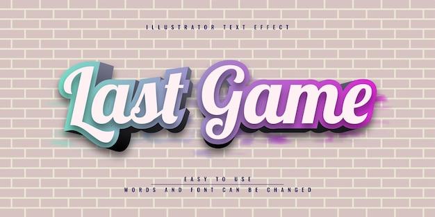 Design del modello di effetto di testo modificabile di last game illustrator