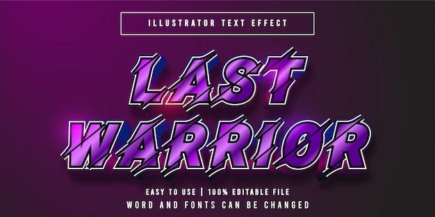 Last warrior, titolo del gioco stile grafico effetto testo modificabile