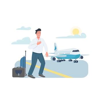 Personaggio dettagliato di colore piatto passeggero aereo in ritardo