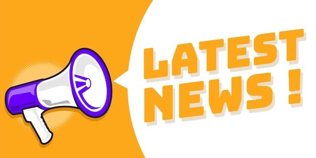 Banner di annuncio delle ultime notizie con megafono