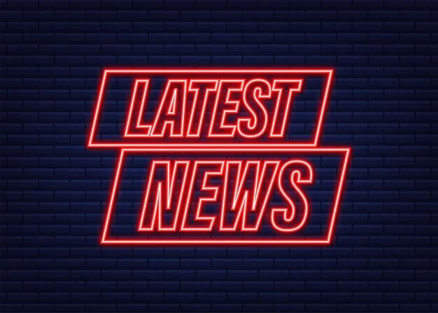 Ultime notizie icona al neon. bandiera del megafono. web design. illustrazione di riserva di vettore.