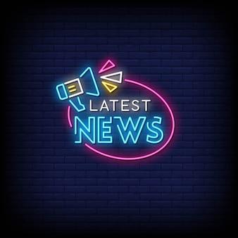 Ultime notizie insegne al neon in stile testo