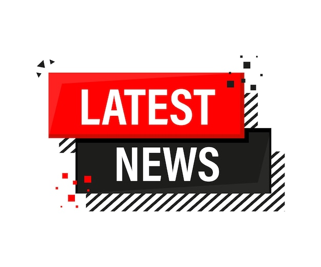 Ultime notizie banner rosso in stile 3d su bianco