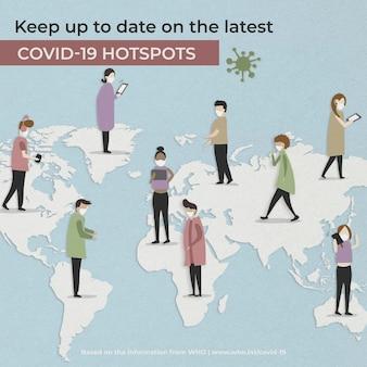 Ultimo aggiornamento sull'annuncio sociale di vettore dell'illustrazione dell'hotspot covid-19