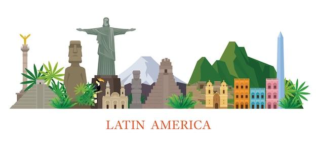 Illustrazione di luoghi d'interesse dell'america latina
