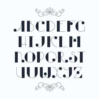 Dattiloscritto carino elegante latino. lettere maiuscole, carattere monocromatico.