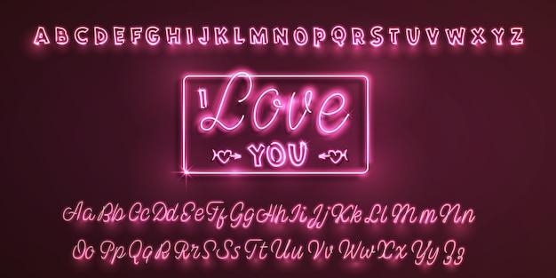 Carattere al neon latino ti amo