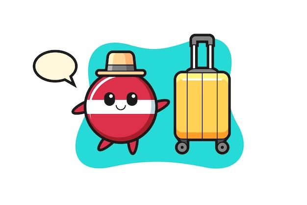 Illustrazione del fumetto del distintivo della bandiera della lettonia con i bagagli in vacanza, design in stile carino per maglietta, adesivo, elemento logo