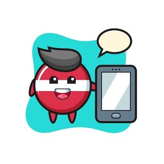Fumetto dell'illustrazione del distintivo della bandiera della lettonia che tiene uno smartphone, design in stile carino per maglietta, adesivo, elemento logo