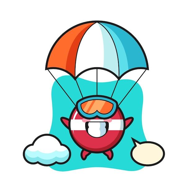 Il fumetto della mascotte del distintivo della bandiera della lettonia fa paracadutismo con un gesto felice, un design in stile carino per maglietta, adesivo, elemento logo